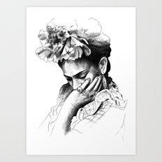 Frida Kahlo - pencil portrait Art Print