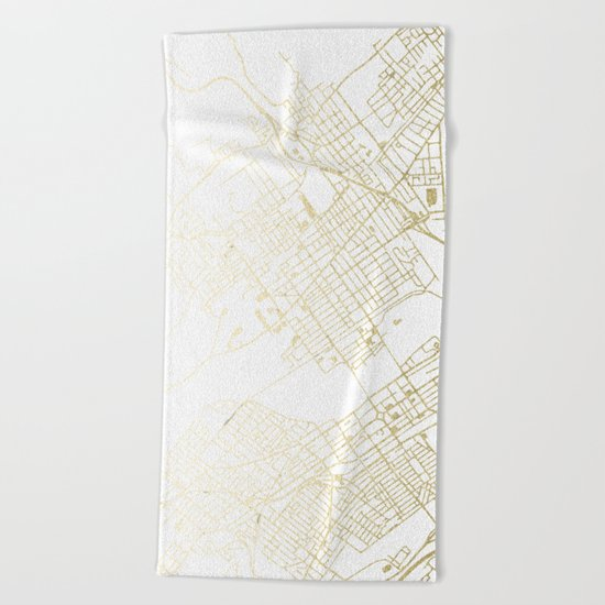 Wilkes-Barre Gold and White Map Beach Towel