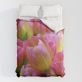 Pink and Yellow Tulips Comforters