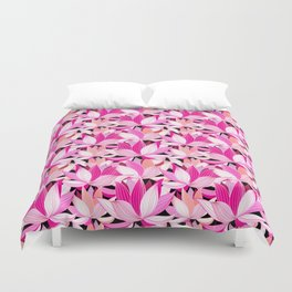 vector seamless pattern beautiful pink lotus flowers on a black background Duvet Cover