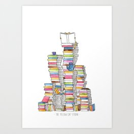 Mountain of books for booklovers (and catlovers, and tealovers). Watercolor Art Print