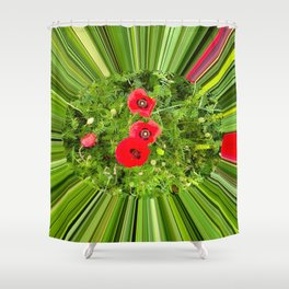 Red poppies on a green field with a tunnel effect. Shower Curtain
