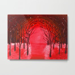 The Red Forest Painting Metal Print