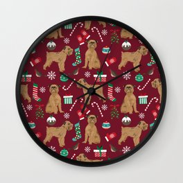 Brussels Griffon christmas holiday pet pattern stockings presents dog breed gifts Wall Clock