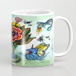 Surreal watercolor flowers and bugs Coffee Mug