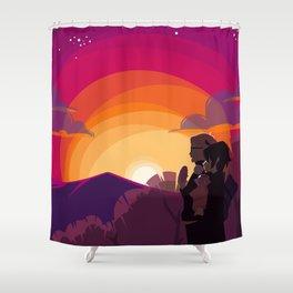 HQ!!: Sunset Walk Shower Curtain