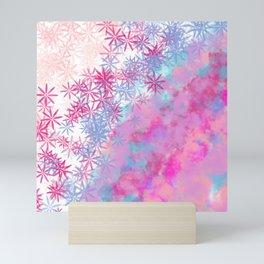 Pink lavender teal aqua watercolor clouds floral Mini Art Print
