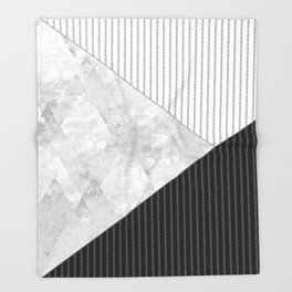 Valencia 1  Abstract black and white geometric pattern. Throw Blanket