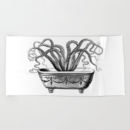Tentacles in the Tub | Octopus | Black and White Beach Towel