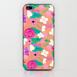 Peach floral illustration iPhone Skin
