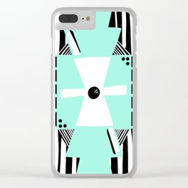 Otavalo Turquoise Stripes Clear iPhone Case