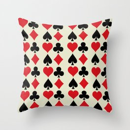 Playing Card Suits Print Throw Pillow