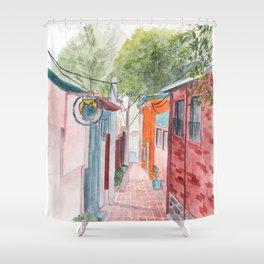 Korean Street Watercolor Illustration Shower Curtain