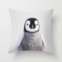Baby Penguin - Colorful Throw Pillow