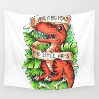 t rex Wall Tapestries featuring T-Rex by Little Lost Forest