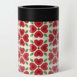 Christmas Heart Flowers Can Cooler