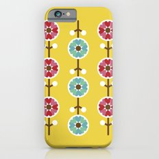 Scandinavian inspired flower pattern - yellow background iPhone 6s Slim Case