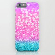 Aqua & Magenta Glitter Bubbles iPhone 6 Slim Case