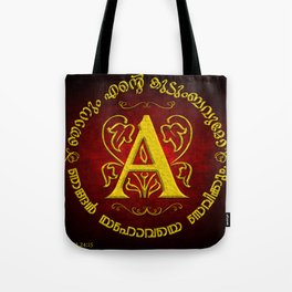 Joshua 24:15 - (Gold on Red) Monogram A Tote Bag
