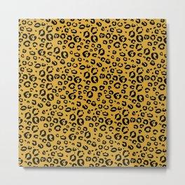 Leopard (black on gold) Metal Print