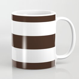 Tamarind brown - solid color - white stripes pattern Coffee Mug