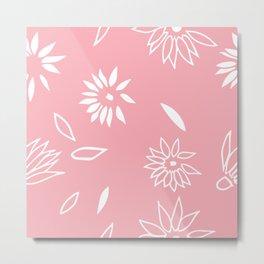 Powder Pink Floral Shapes 2 Metal Print