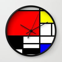 mondrian Wall Clocks featuring Mondrian by  Can Encin