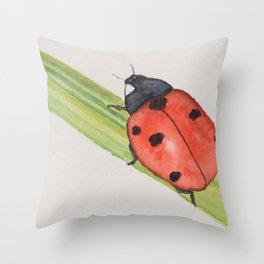 Ladybird on a blade of grass Throw Pillow