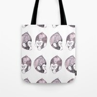 planet of the apes Tote Bags featuring Apes! by Christian Bailey
