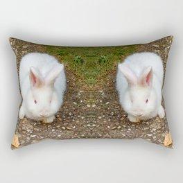 Fluffy white bunny Rectangular Pillow