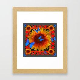 RED TWILIGHT GARDEN SUNFLOWERS BLUE BUTTERFLIES Framed Art Print