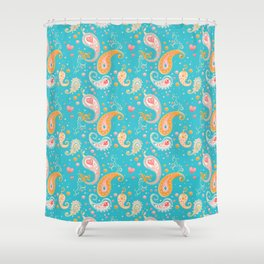 Paisley Hearts Turquoise Shower Curtain