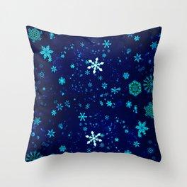 Blue Snowflakes Pattern Throw Pillow
