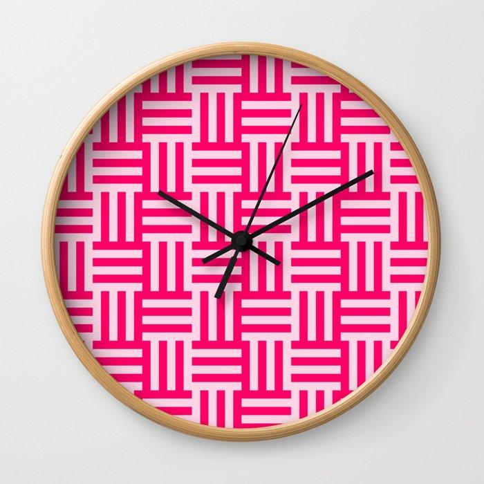 pink modern line pattern Wall Clock