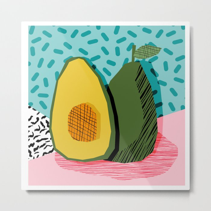 Choice - wacka memphis throwback retro neon fruit avocado vegetable vegan vegetarian art decor Metal Print