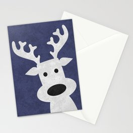Christmas reindeer blue marble Stationery Cards