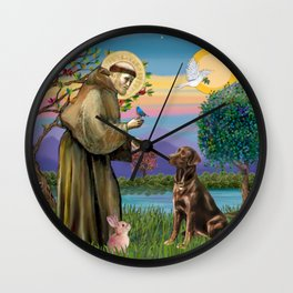 Saint Francis Blesses a Chocolate Labrador Wall Clock