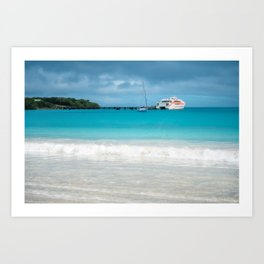 Pier and ferry boat at Kuto Bay in New Caledonia. Art Print