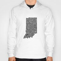 indiana Hoodies featuring Typographic Indiana by CAPow!