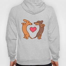 Cute cartoon dachshunds in love Hoody