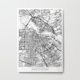 Amsterdam Map White Metal Print