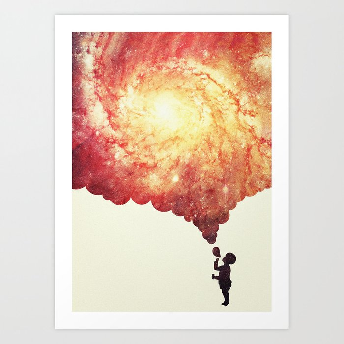 The universe in a soap-bubble! (Awesome Space / Nebula / Galaxy Negative Space Artwork) Art Print