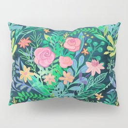 Roses + Green Messy Floral Posie Pillow Sham