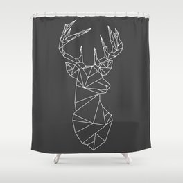 Greometric Stag (White on Grey) Shower Curtain