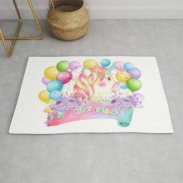 Happy Birthday Unicorn Party Rug