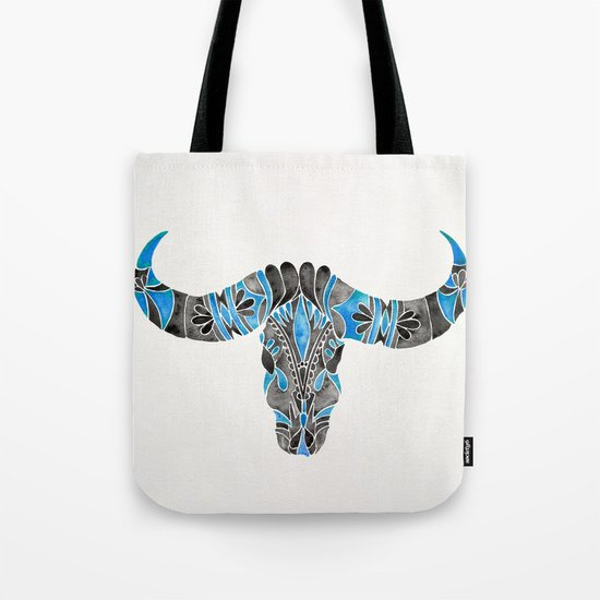 Water Buffalo Skull – Black & Blue Tote Bag