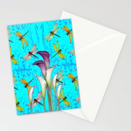 PURPLE CALLA LILIES IN  DRAGONFLY WORLD  ART Stationery Cards