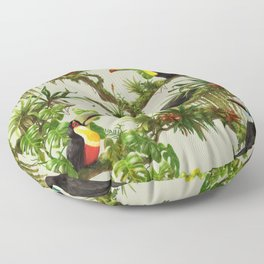 Toucans and Bromeliads (Canvas Background) Floor Pillow