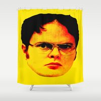 """dwight Shower Curtains featuring Dwight Schrute """"FACT"""" by Silvio Ledbetter"""