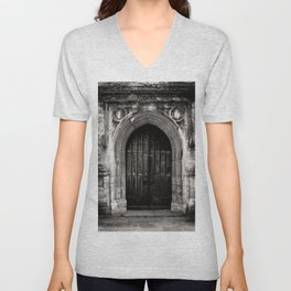 The West Door of St. John Baptist Parish Church in Cirencester Unisex V-Neck